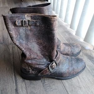 Frye Veronica Black Crackle Boots 9 Moto